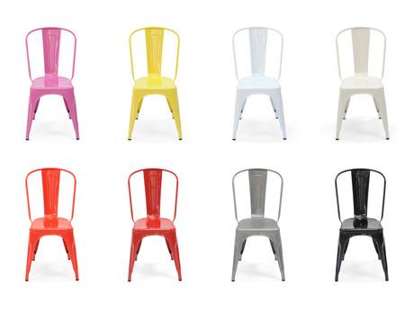 Ensemble de 8 chaises Tolix modèle A en couleur