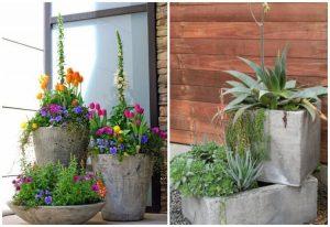 Pots en béton remplis de fleurs