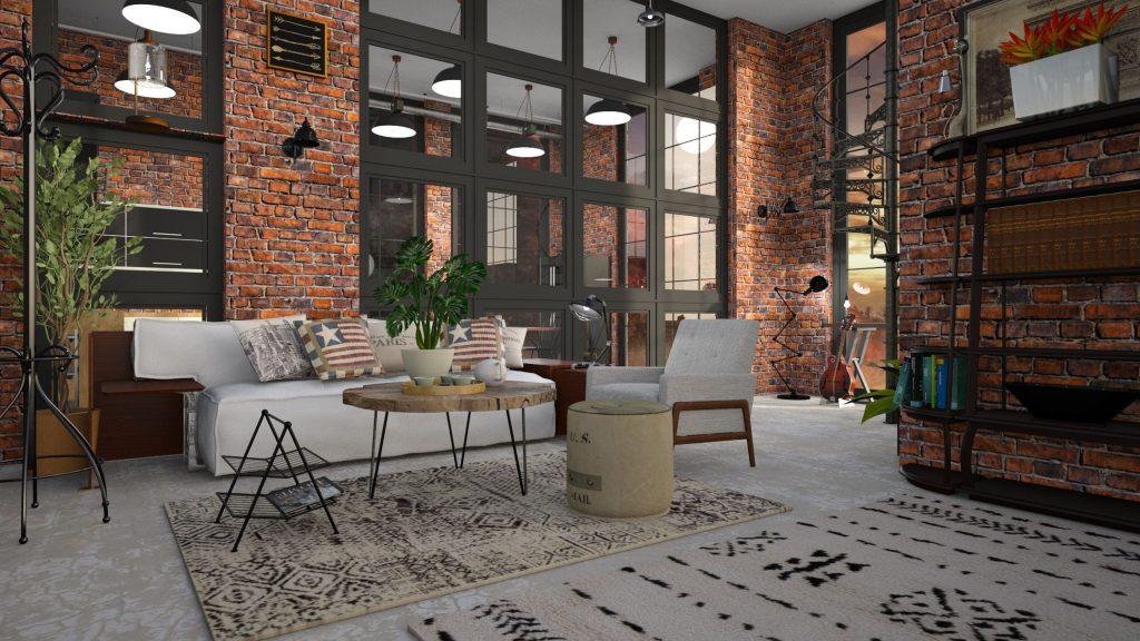 loft décoré avec un style industriel.