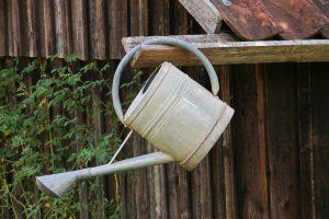 Arrosoir en métal vieilli suspendu à une gouttière